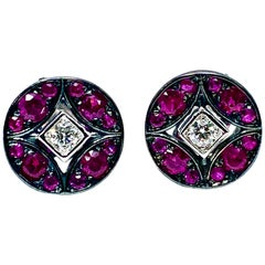 Mariani Ruby and Diamond White and Black 18 Karat Gold Earrings