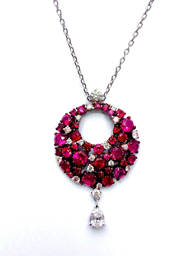 Modern Mariani Ruby and Diamond White and Red Gold Eclipse Pendant For Sale