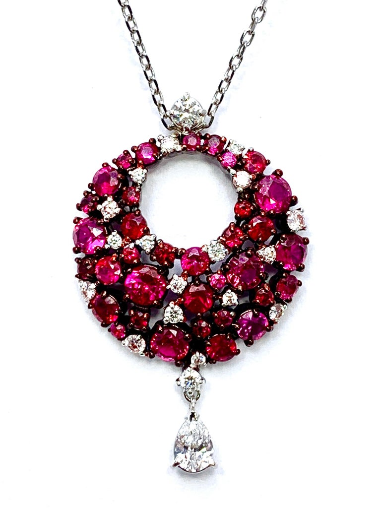 Round Cut Mariani Ruby and Diamond White and Red Gold Eclipse Pendant For Sale