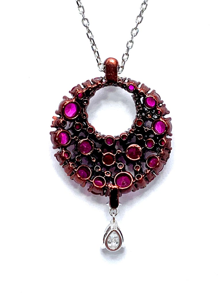Mariani Ruby and Diamond White and Red Gold Eclipse Pendant In Excellent Condition For Sale In Washington, DC