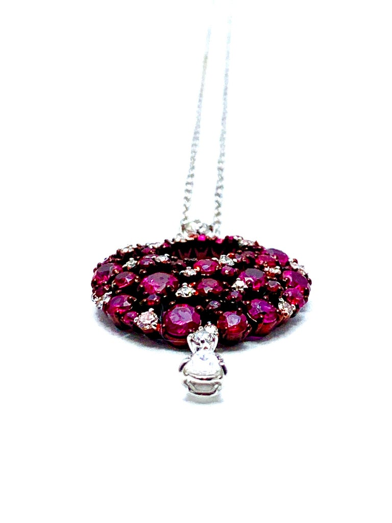 Mariani Ruby and Diamond White and Red Gold Eclipse Pendant For Sale 1