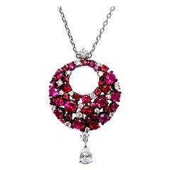 Mariani Ruby and Diamond White and Red Gold Eclipse Pendant