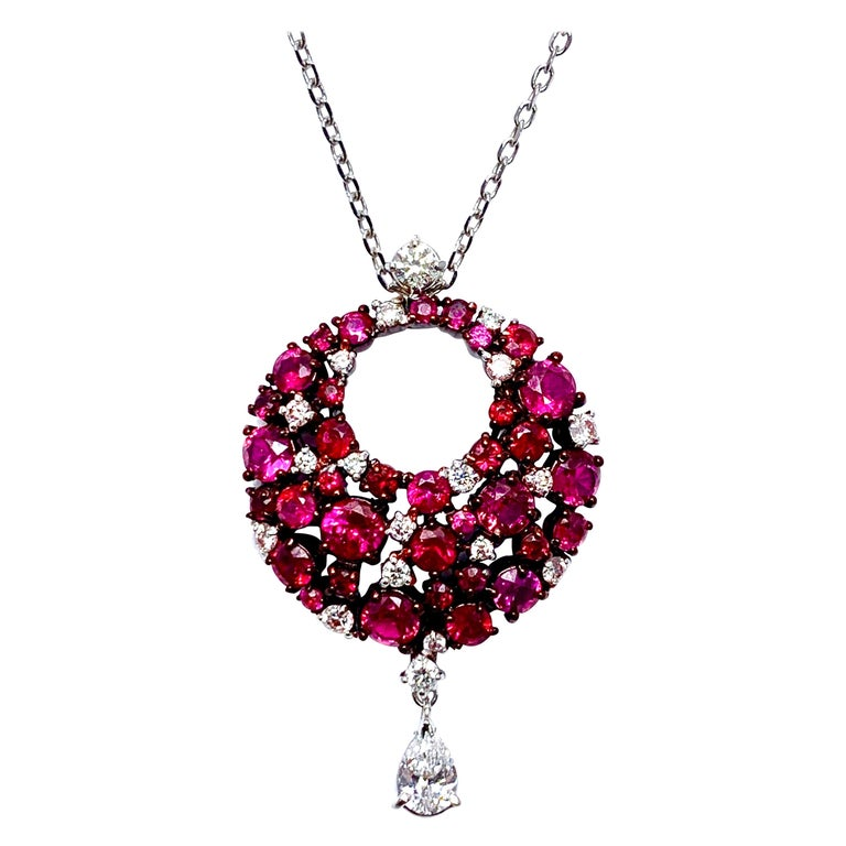 Mariani Ruby and Diamond White and Red Gold Eclipse Pendant For Sale