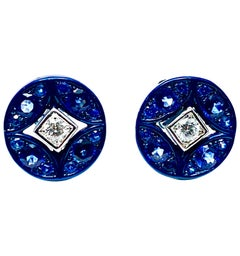 Mariani Sapphire and Diamond White and Blue 18 Karat Gold Earrings