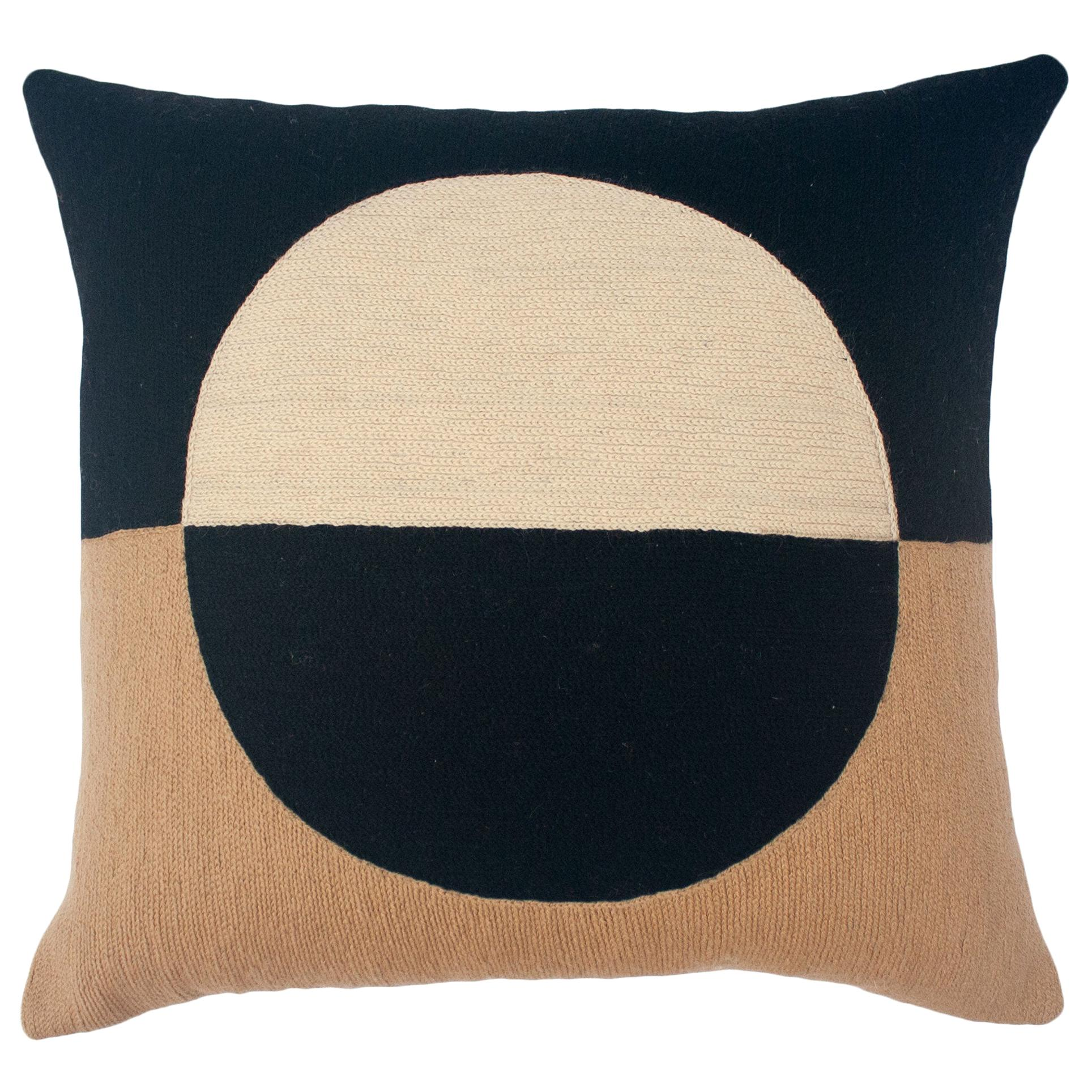 Marianne Circle Black Hand Embroidered Modern Geometric Throw Pillow Cover