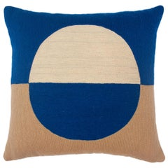 Marianne Circle Blue Hand Embroidered Modern Geometric Throw Pillow Cover