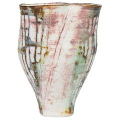 Marianne De Trey Studio Porcelain Wax Resist Linear Patterned Vase