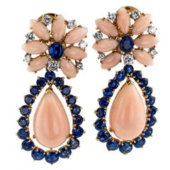 Marianne Ostier 1960s Coral Diamond Sapphire Earrings