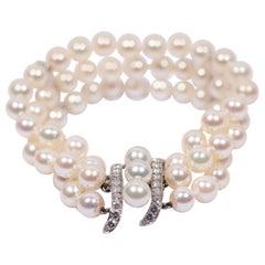 Marianne Ostier 3 Strands Akoya Pearl Diamond White Gold Bracelet