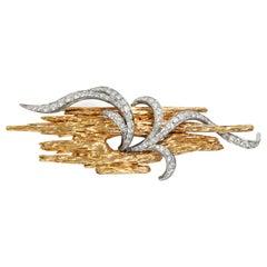 Marianne Ostier Vintage 1960s 2.25 ct Diamond 18k Gold Platinum Branch Brooch