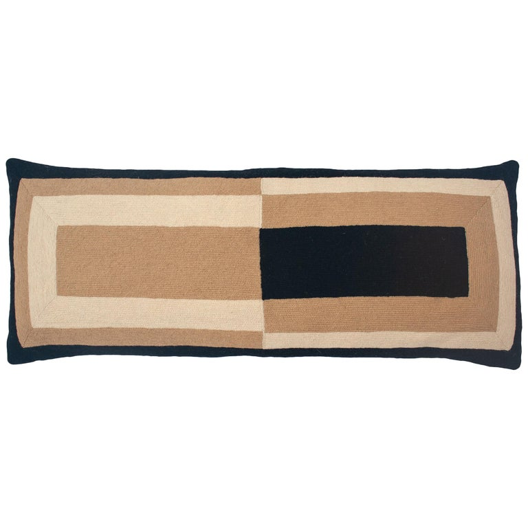 Marianne Rectangle Black Hand Embroidered Modern Geometric Throw Pillow Cover For Sale