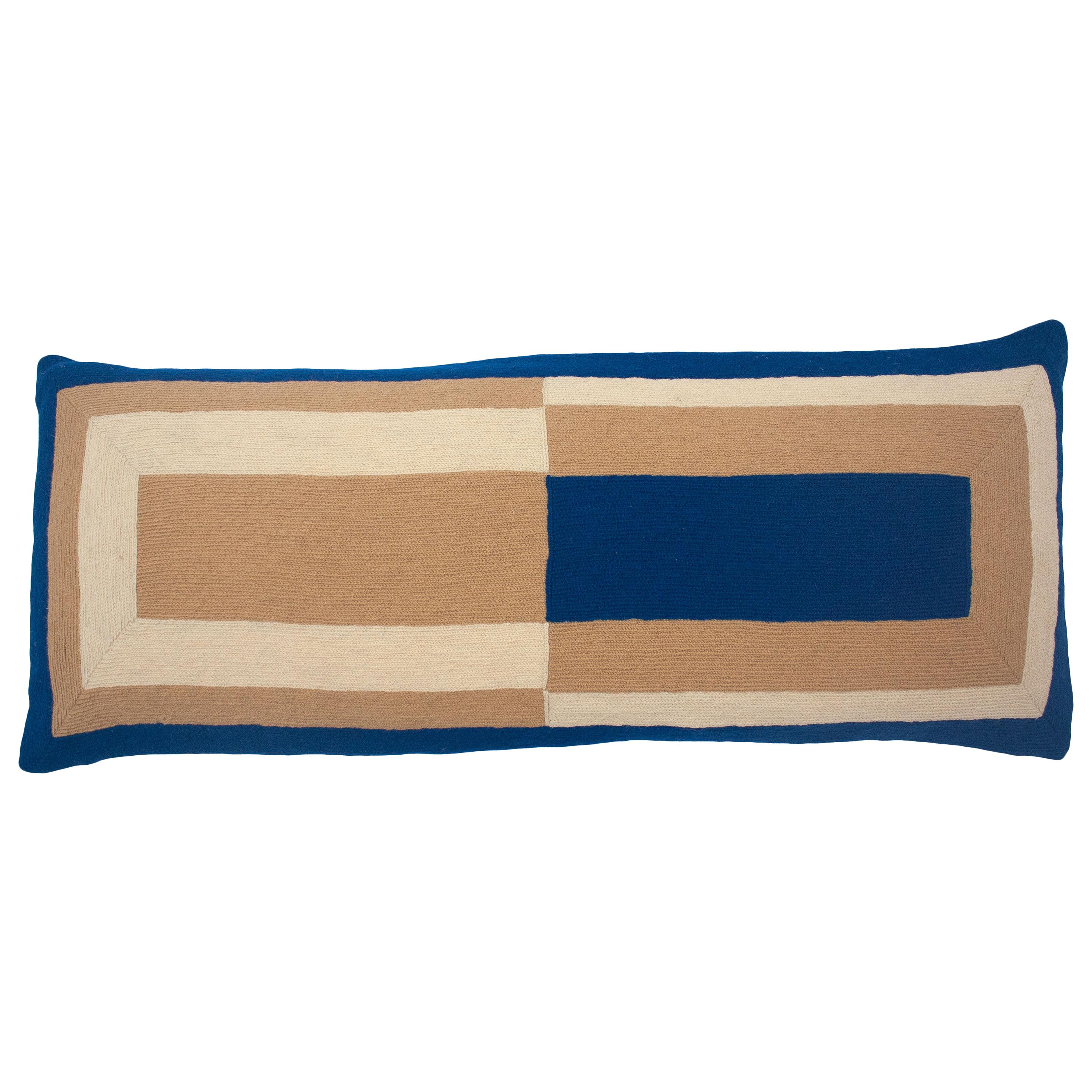 Marianne Rectangle Blue Hand Embroidered Modern Geometric Throw Pillow Cover