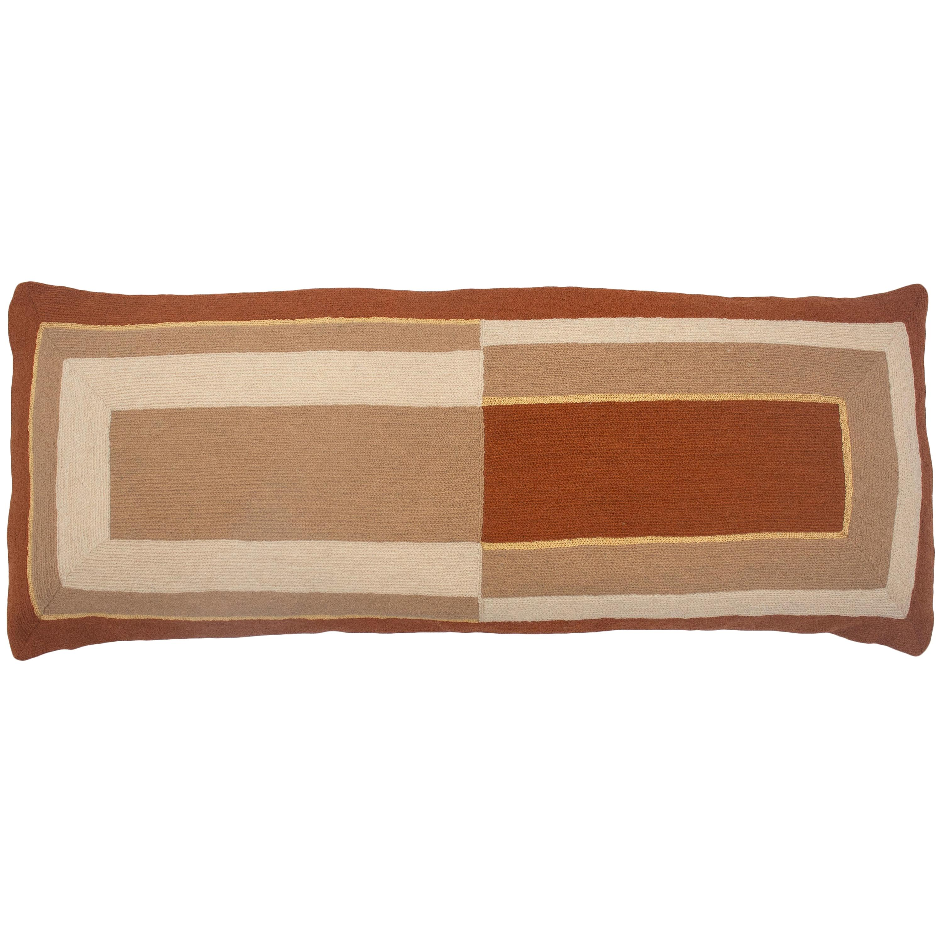 Marianne Rectangle Ochre Hand Embroidered Modern Geometric Throw Pillow Cover