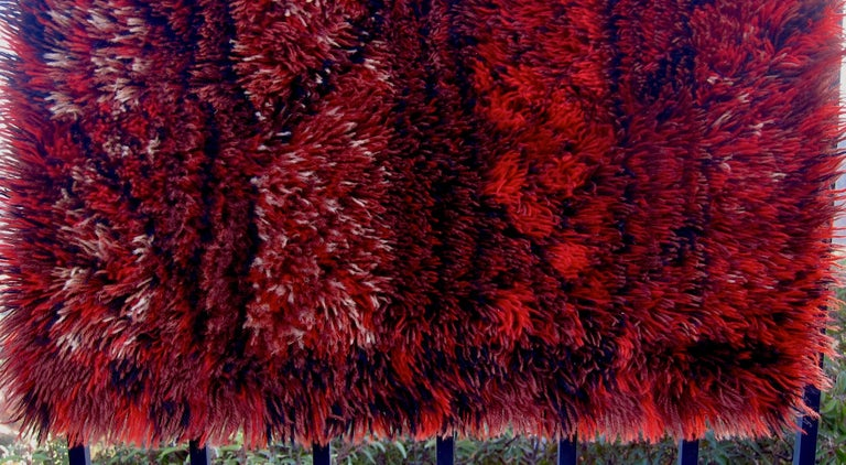 Marianne Richter Midcentury Red Kolmården Rya Rug or Wall Hanging For Sale 3