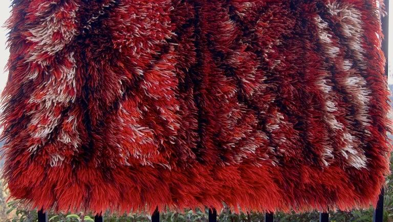 Marianne Richter Midcentury Red Kolmården Rya Rug or Wall Hanging For Sale 4