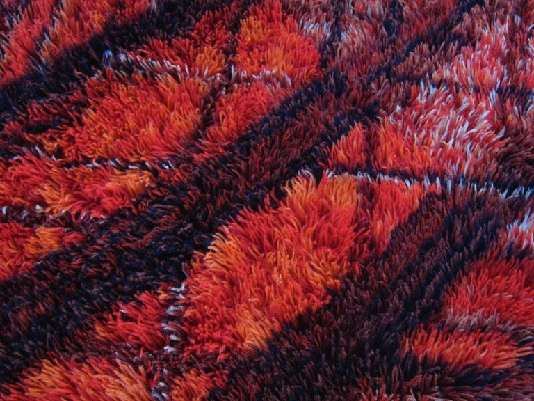 Mid-20th Century Marianne Richter Midcentury Red Kolmården Rya Rug or Wall Hanging For Sale
