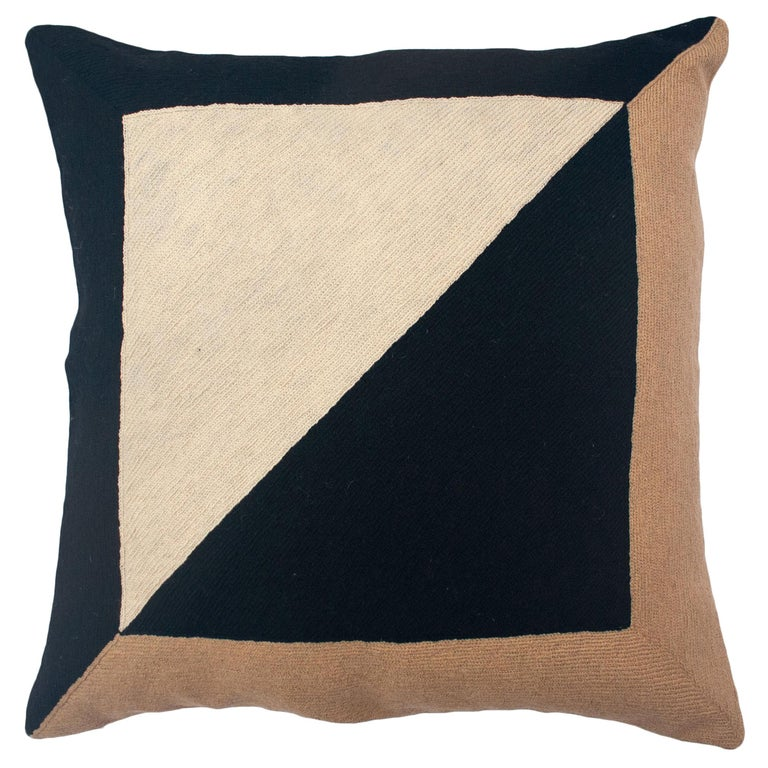 Marianne Square Black Hand Embroidered Modern Geometric Throw Pillow Cover For Sale