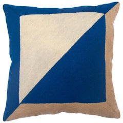 Marianne Square Blue Hand Embroidered Modern Geometric Throw Pillow Cover