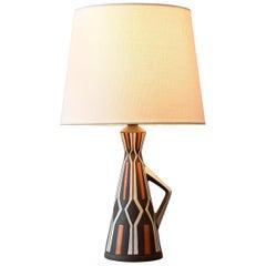 Marianne Starck for MA&S Ceramic Table Lamp Sgraffito Harlekin Decor Danish 1960