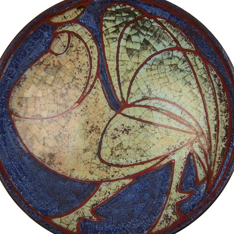 Mid-Century Modern Marianne Starck Michael Andersen Art Pottery Cockerel Dish For Sale