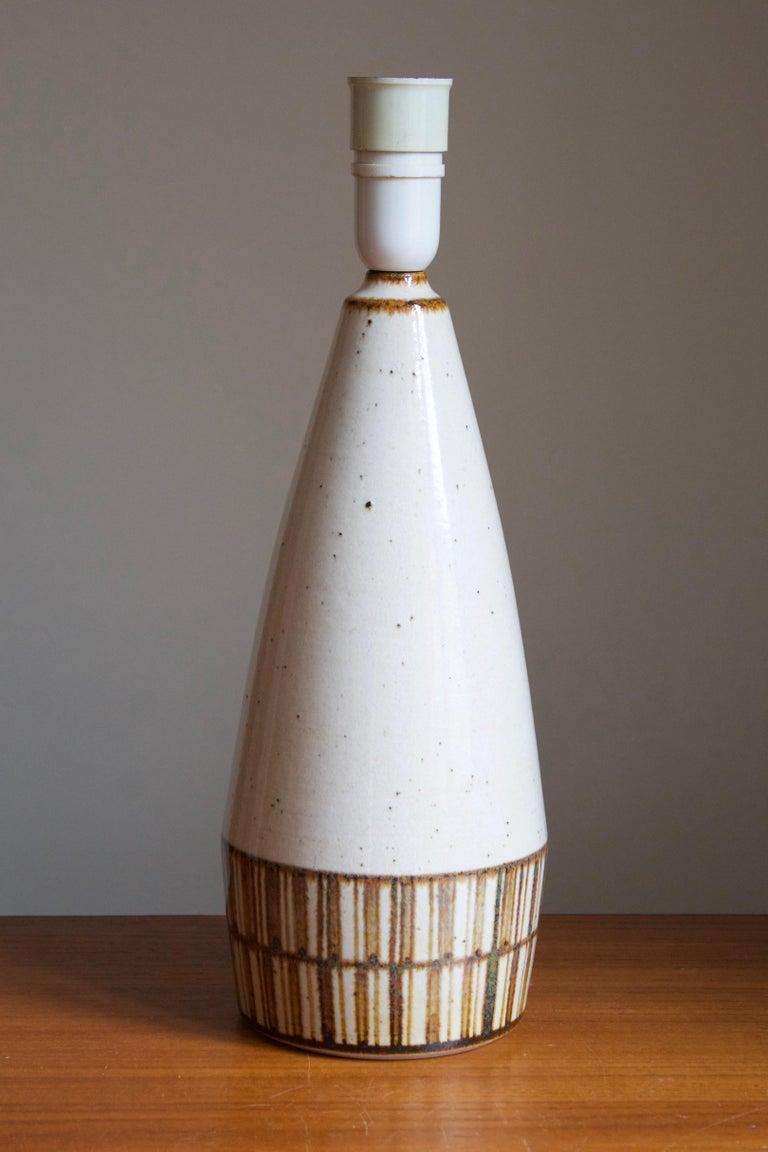 Mid-Century Modern Marianne Starck, Table Lamp, Beige Stoneware, Michael Andersen, Denmark, 1960s For Sale