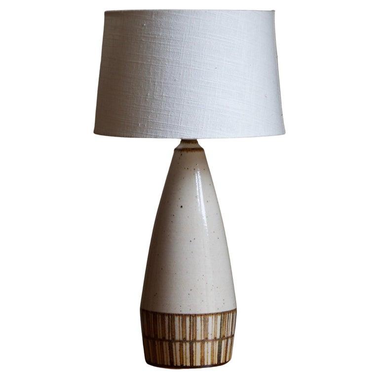 Marianne Starck, Table Lamp, Beige Stoneware, Michael Andersen, Denmark, 1960s For Sale