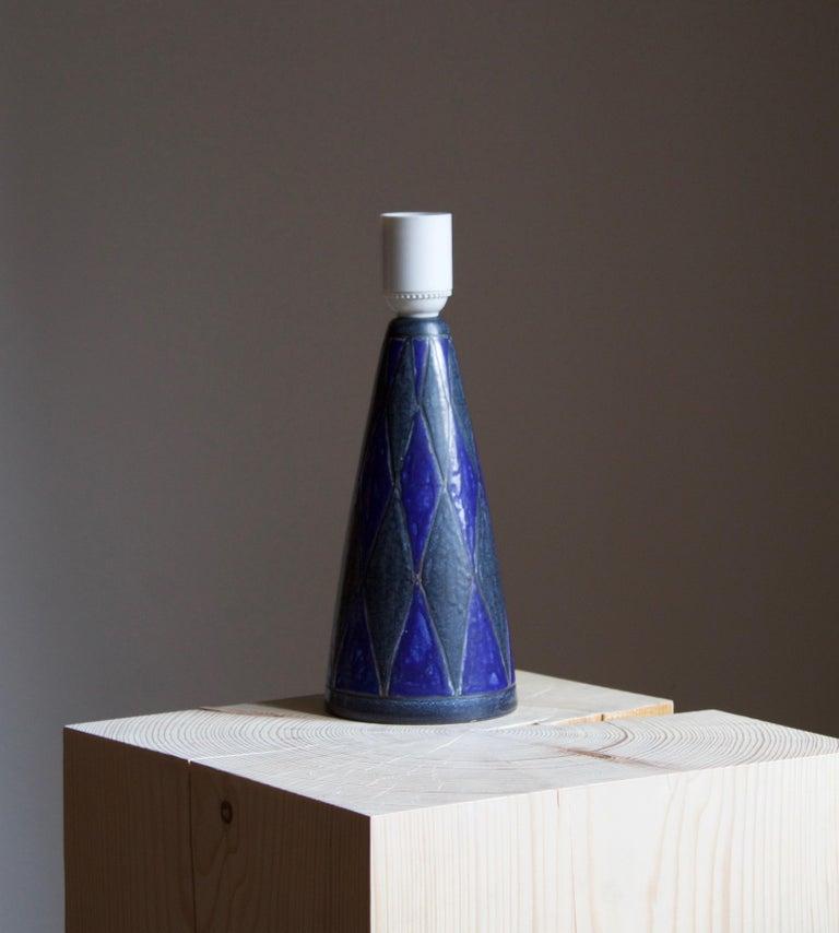 Mid-Century Modern Marianne Starck, Table Lamp, Blue Stoneware, Michael Andersen, Denmark, 1960s For Sale