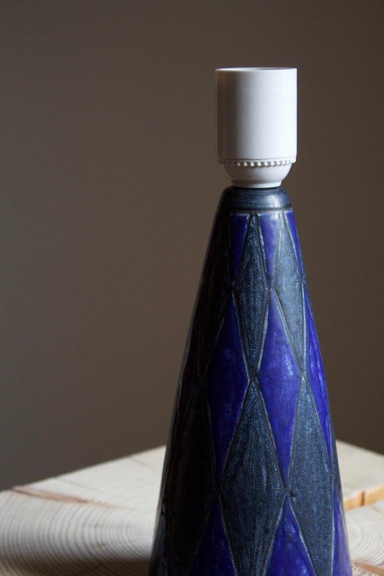 Danish Marianne Starck, Table Lamp, Blue Stoneware, Michael Andersen, Denmark, 1960s For Sale
