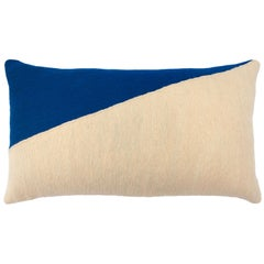 Marianne Triangle Blue Hand Embroidered Modern Geometric Throw Pillow Cover