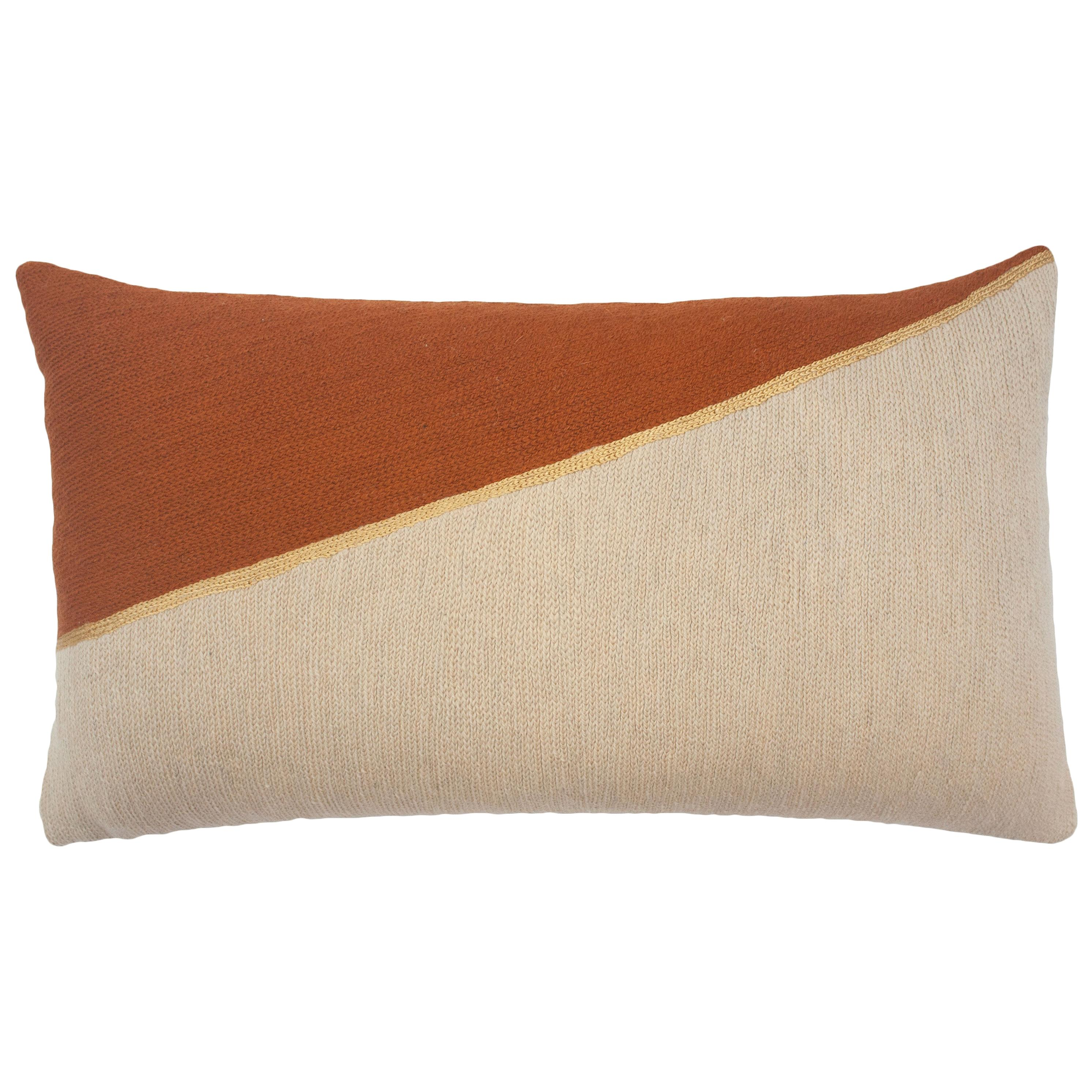 Marianne Triangle Ochre Hand Embroidered Modern Geometric Throw Pillow Cover