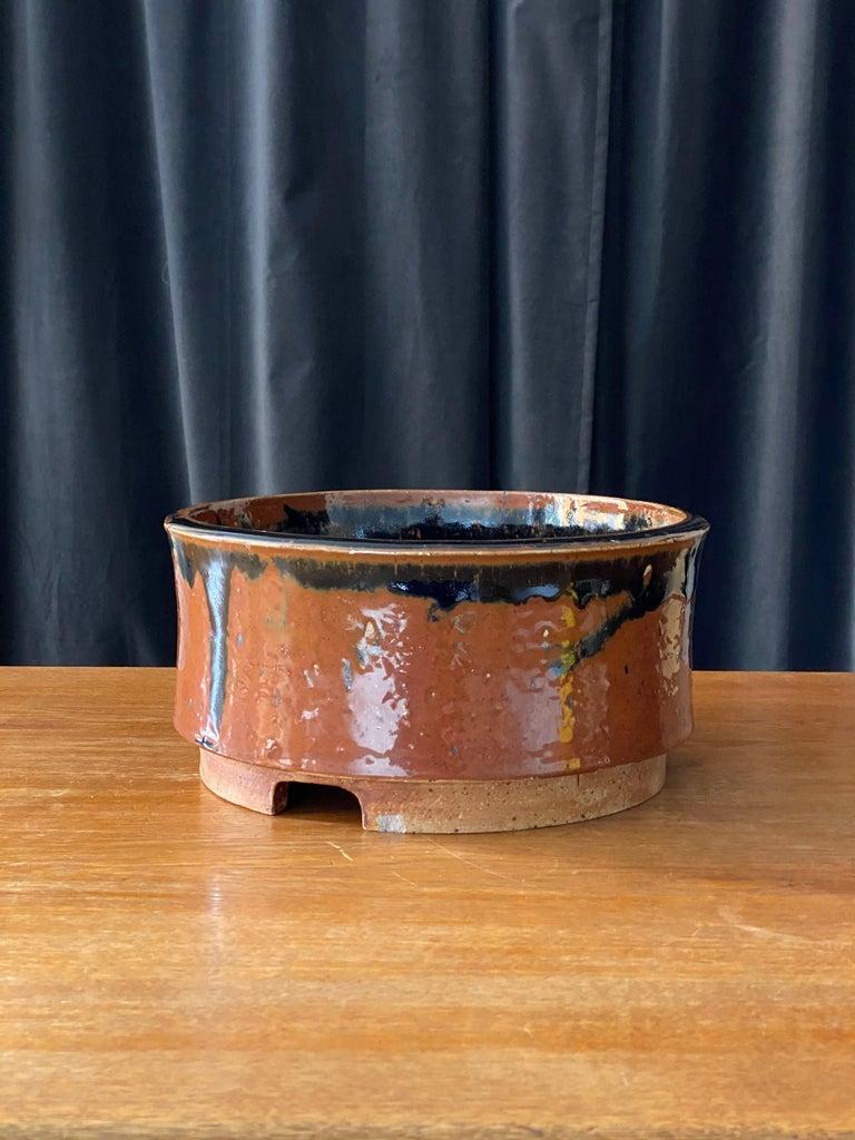 Scandinavian Modern Marianne Westman, Large Pot / Planter, Brown Blue Glaze, Rörstands, Sweden 1950s For Sale
