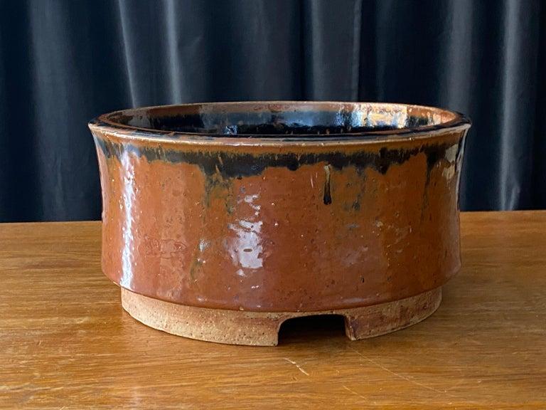 Swedish Marianne Westman, Large Pot / Planter, Brown Blue Glaze, Rörstands, Sweden 1950s For Sale