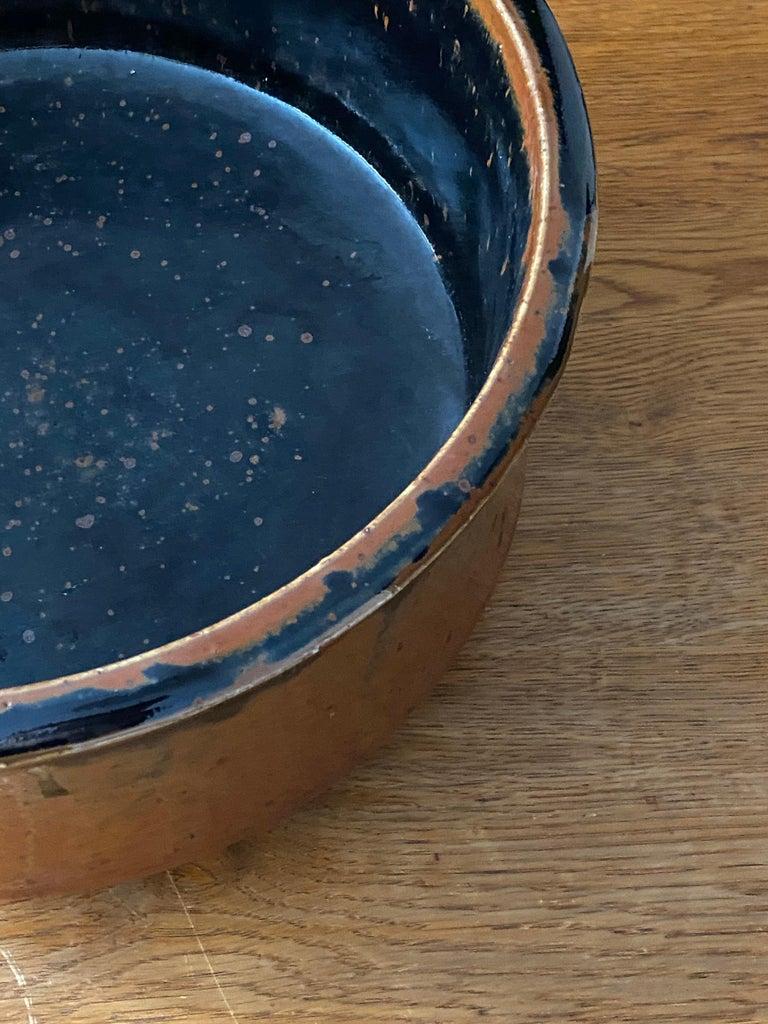 Mid-20th Century Marianne Westman, Large Pot / Planter, Brown Blue Glaze, Rörstands, Sweden 1950s For Sale