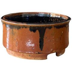 Marianne Westman, Large Pot / Planter, Brown Blue Glaze, Rörstands, Sweden 1950s