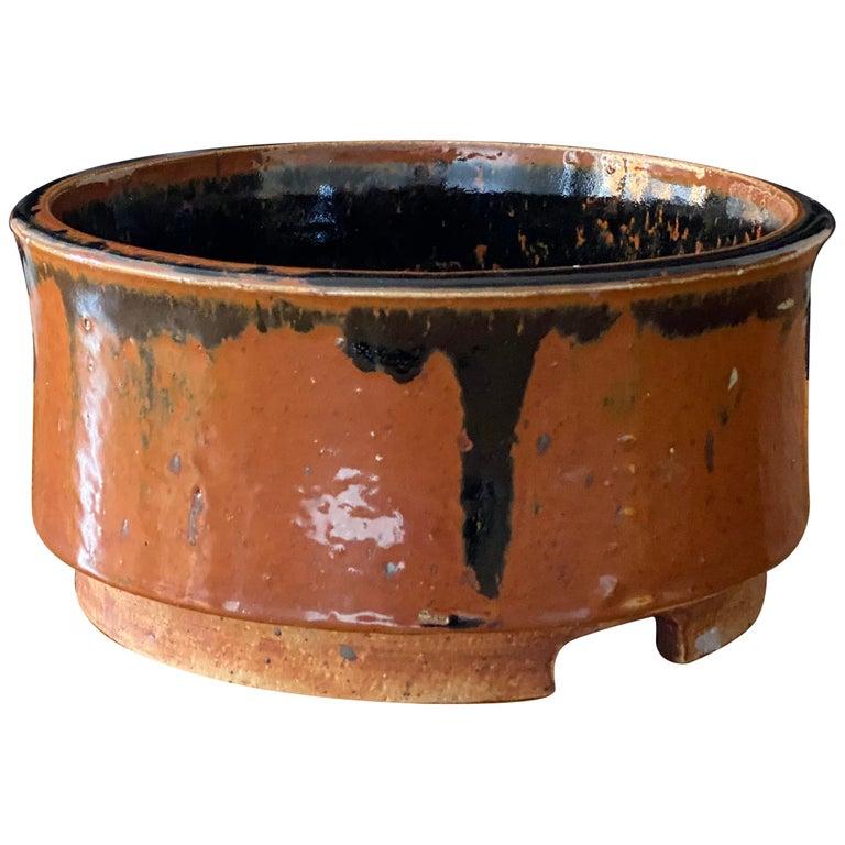 Marianne Westman, Large Pot / Planter, Brown Blue Glaze, Rörstands, Sweden 1950s For Sale
