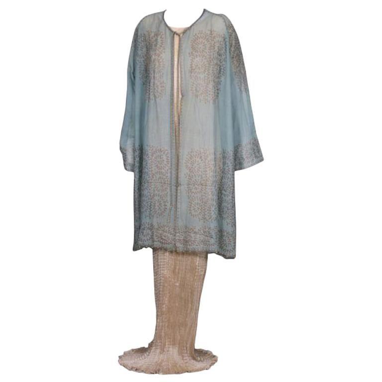 Mariano Fortuny Aquamarine Gauze Stencilled  Coat For Sale