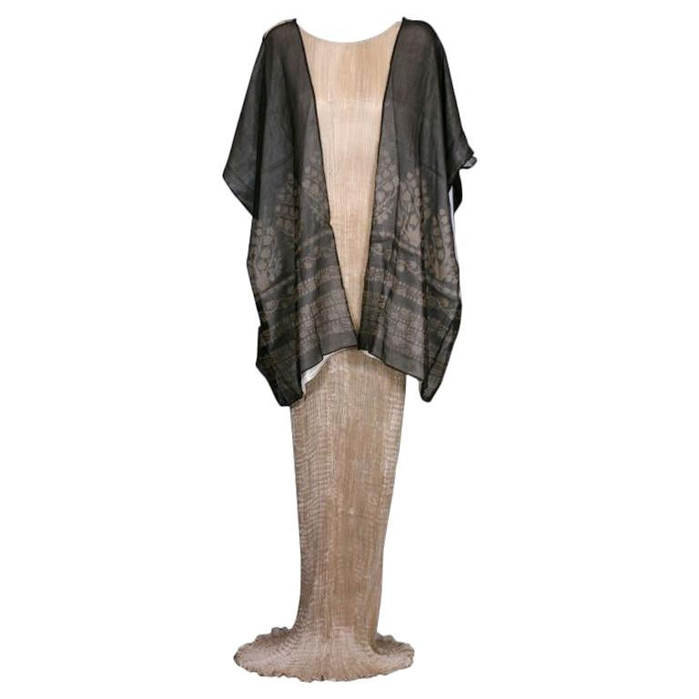 Mariano Fortuny Black Gauze Stencilled Short Coat For Sale