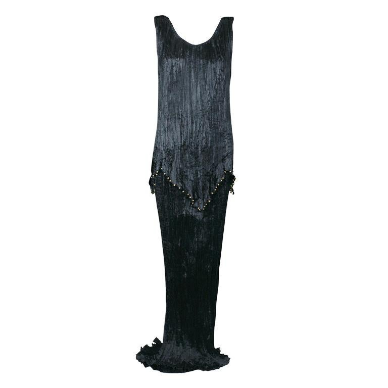 Mariano Fortuny Black Peplos Gown For Sale