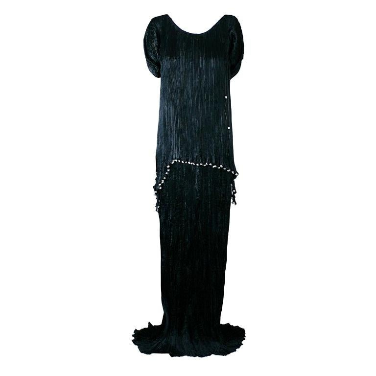 Mariano Fortuny Black Silk Peplos Gown For Sale