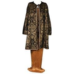 Mariano Fortuny Black  Stencilled Velvet Long Coat