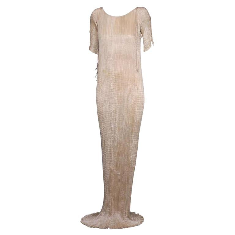 Mariano Fortuny Light Cafe au Lait Short Sleeved Delphos Gown For Sale