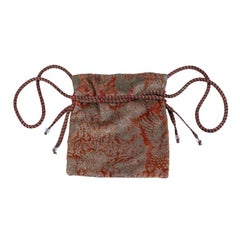 Mariano Fortuny Pink Coral Stencilled Velvet Drawstring Bag