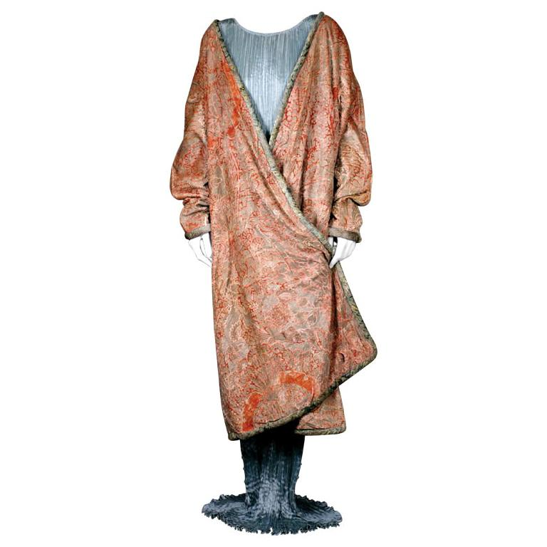 Mariano Fortuny Pink Coral Stencilled Velvet Long Coat For Sale