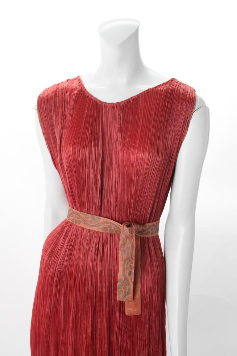 Red Mariano Fortuny Pleated Coral Silk