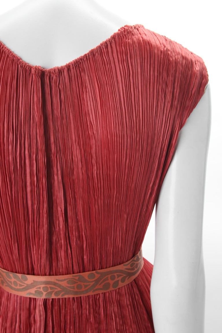 Mariano Fortuny Pleated Coral Silk