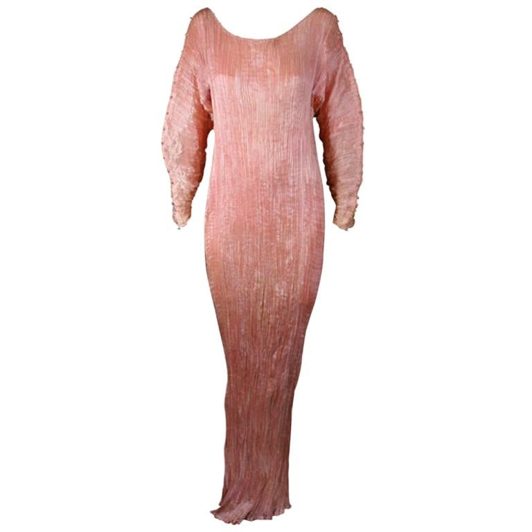 Mariano Fortuny   Rare Shell Pink Long Sleeved Delphos Gown For Sale