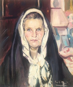 Ibiza woman Spain spanish oil on canvas painting portrait