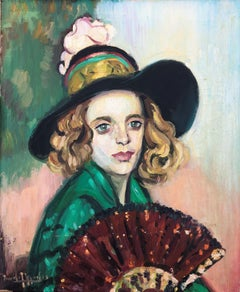 Woman with fan oil on canvas painting portrait