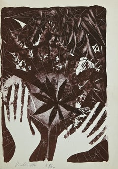 Hands in Nature - Original Lithograph by Mariano Villalta - 1960s