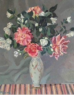 'Fleurs' French Bouquet, Impressionist Oil Painting, Signed